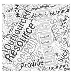 Human resource outsourcing services word cloud vector
