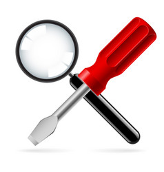 magnifying glass and screwdriver on white vector image vector image