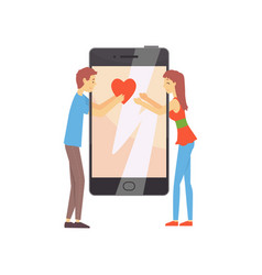 online dating service or mobile app concept with vector image