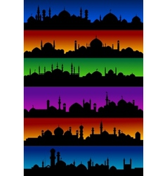 Oriental arabian city skylines with mosques vector