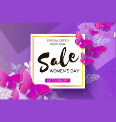 Origami ultra violet spring sale butterfly banner vector