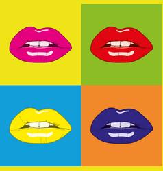 Pop art woman lips background vector