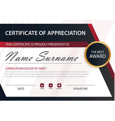 Red line elegance horizontal certificate with vector