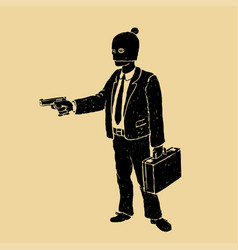 Robber in a suit with a pistol vector