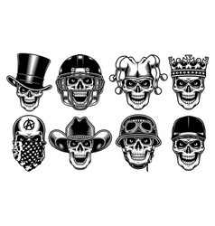 set of skull characters on white background vector image