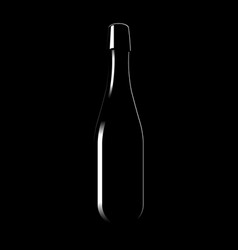 silhouette of a glass bottle of sparkling wine vector image vector image
