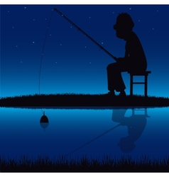 Silhouette of the fisherman beside yard vector