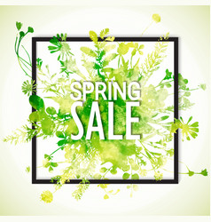 Spring sale watercolor banner vector