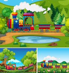 Train riding in the countryside scenes vector image
