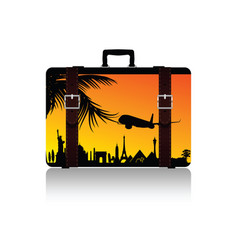 travel suitcase with symbol on it vector image