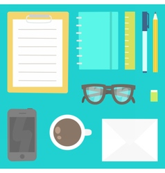 View from the top stationery phone glasses etc vector