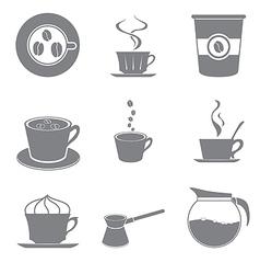 Set of beautiful gray icon coffee theme vector image