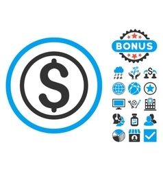 Money flat icon with bonus vector
