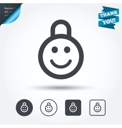Child lock icon locker with smile symbol vector