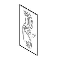 Decorated door icon outline style vector