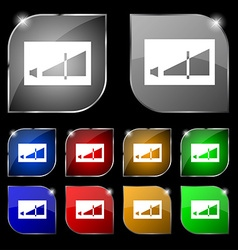 Volume adjustment icon sign set of ten colorful vector