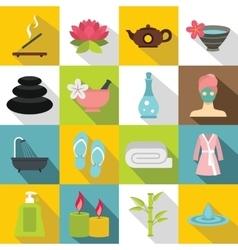 Spa treatments icons set flat style vector image
