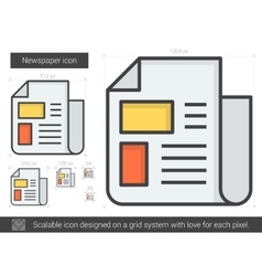 Newspaper line icon vector