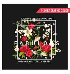Summer Rose and Lily Flowers for T-shirt Fashion vector image