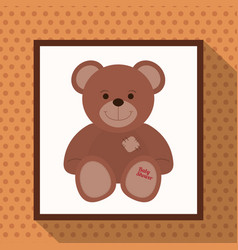 Cute teddy bear baby shower vector
