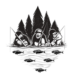 Three Fisherman Sitting on River Bank with Rods vector image