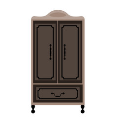 Antique engraved wardrobe on legs in dark colors vector