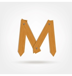 Wooden boards letter m vector