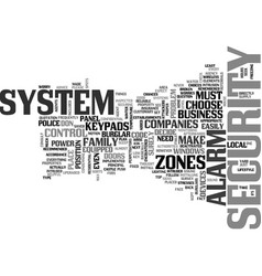 Alarm burglar commercial residential system text vector