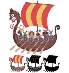 Viking ship on white vector