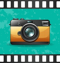 Retro camera on green vector