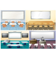 Four scenes of classroom vector