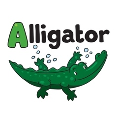 Little alligator or crocodile abc alphabet a vector