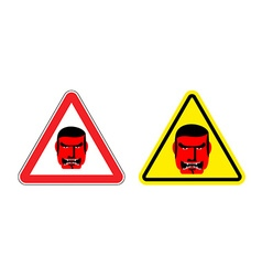 Warning sign of attention an evil boss danger sign vector