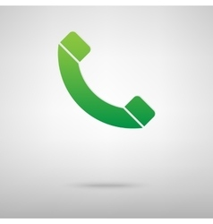 Phone green icon with shadow vector