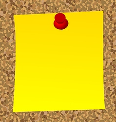 Blank note paper on cork board vector