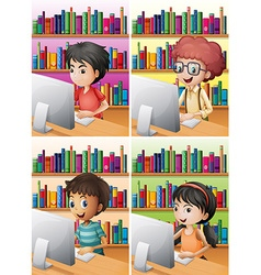 Boys and girl working on computer vector image