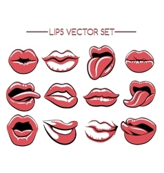 Female lips expression set vector