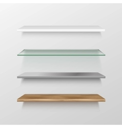 Set of Empty Wood Glass Metal Plastic Shelves vector image
