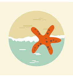 Starfish icon summer sun sea beach vector