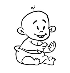 Black and white baby cartoon vector