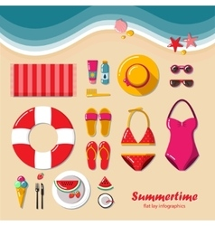 Summertime flat lay infographic vector