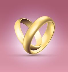 Couple of golden rings over pink vector image