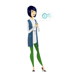 Asian business woman holding a mobile phone vector