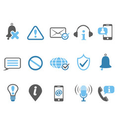 blue notification and information icons set vector image vector image