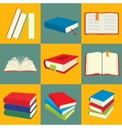 Book flat icon set vector image vector image
