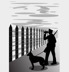 Border guard with dog silhouette vector
