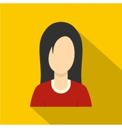 Brunette with long hair icon flat style vector image