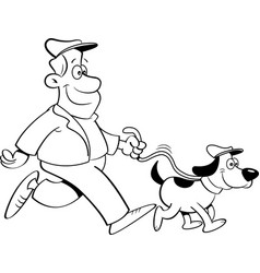cartoon man walking a dog vector image vector image