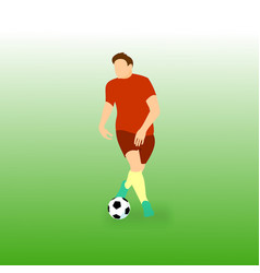 Controling step ball football soccer player vector