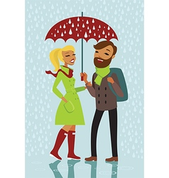 Couple under the rain vector image vector image